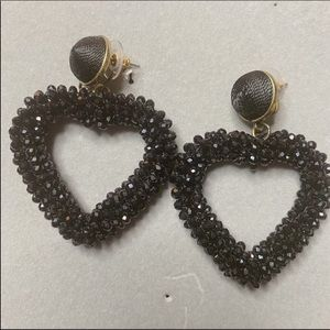NWOT Anthro BaubleBar Black  Heart Drop Earring